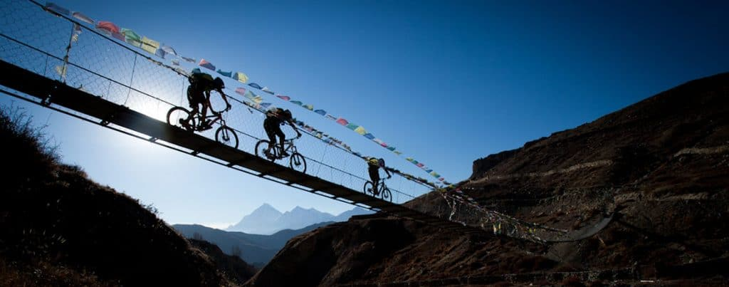 Suspension bridge in the Kali Gandaki Valley, Nepal mountain bike tours worldwide, Customer reviews of our mountain bike tours, mountain biking kathmandu valley