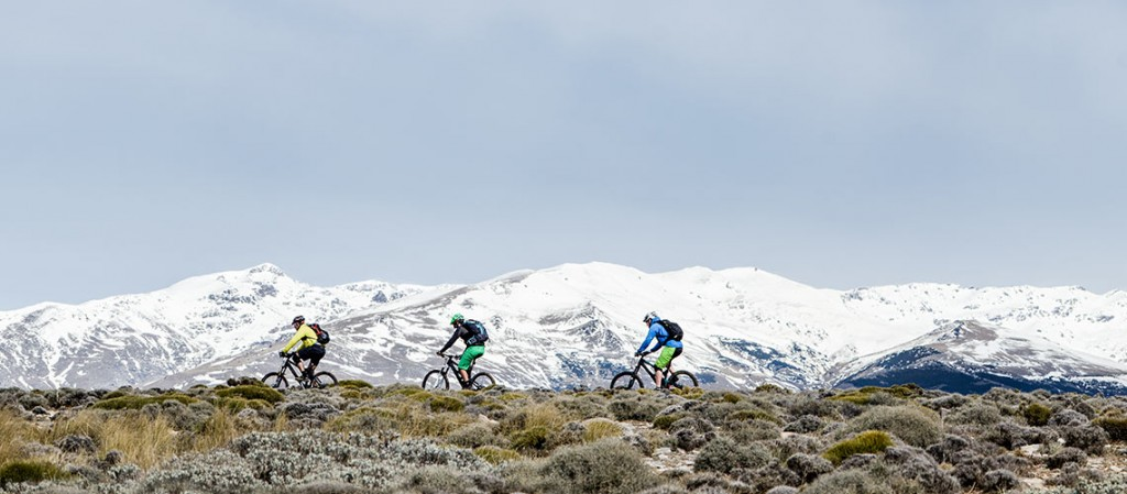 Mountain biking across a ride in southern spain