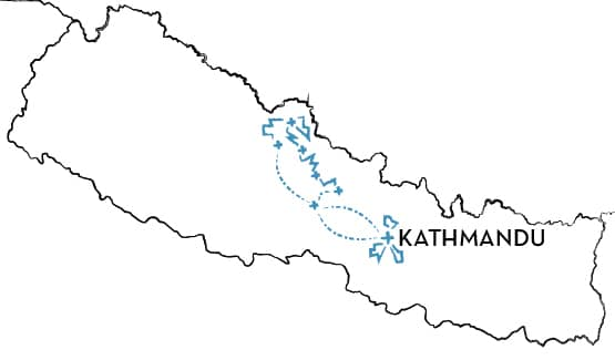 Mountain Bike Tour Nepal Route Map