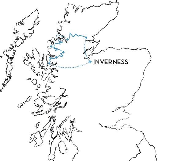 coast-to-coast Scotland mountain bike tour Route Map