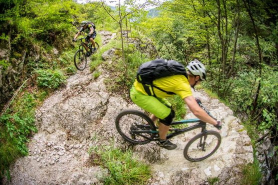 Tight switchbacks on our mountain bike tour Slovenia