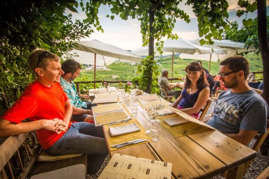 Dinner above the vineyards on our mountain bike tour Slovenia