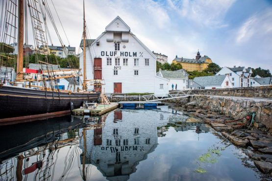 Harbour life in Ålesund on our Fjords of Norway mountain bike tour