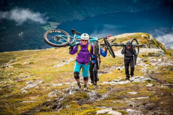 Epic hike-a-bike up Nordic ridgeline ready for the perfect descent on our Fjords of Norway mountain bike tour