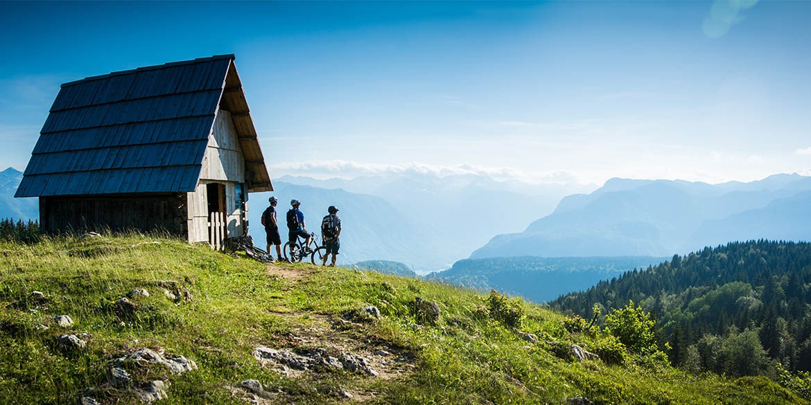 Taling a break on our mountain bike tour in Slovenia to absorb the stunning view