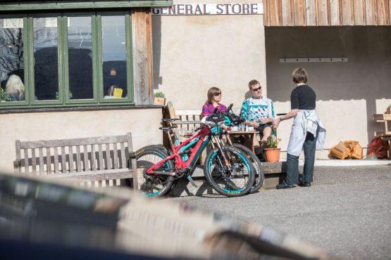 Bikers at Torridon store, coast-to-coast Scotland mountain bike tour