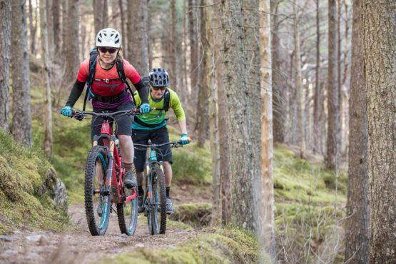 Mountain bikers in the forest, coast-to-coast Scotland mountain bike tour