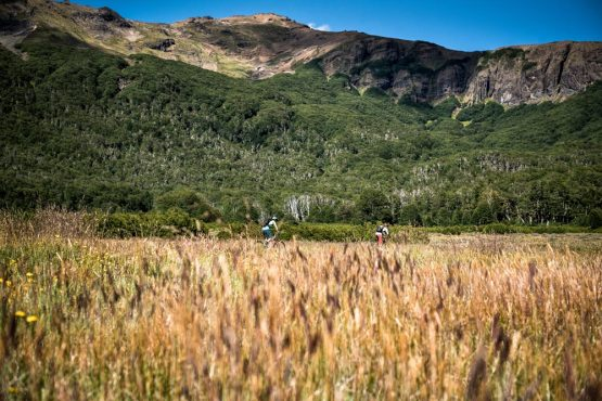 Riding through wild grassland on our mountain bike tour Chile