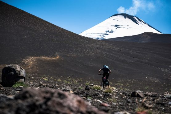 Climbing volcanoes on our mountain bike tour Chile