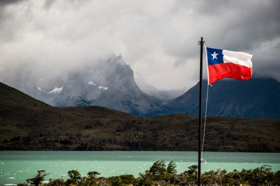 Chilean flag in Patagonia on our mountain bike tour Chile