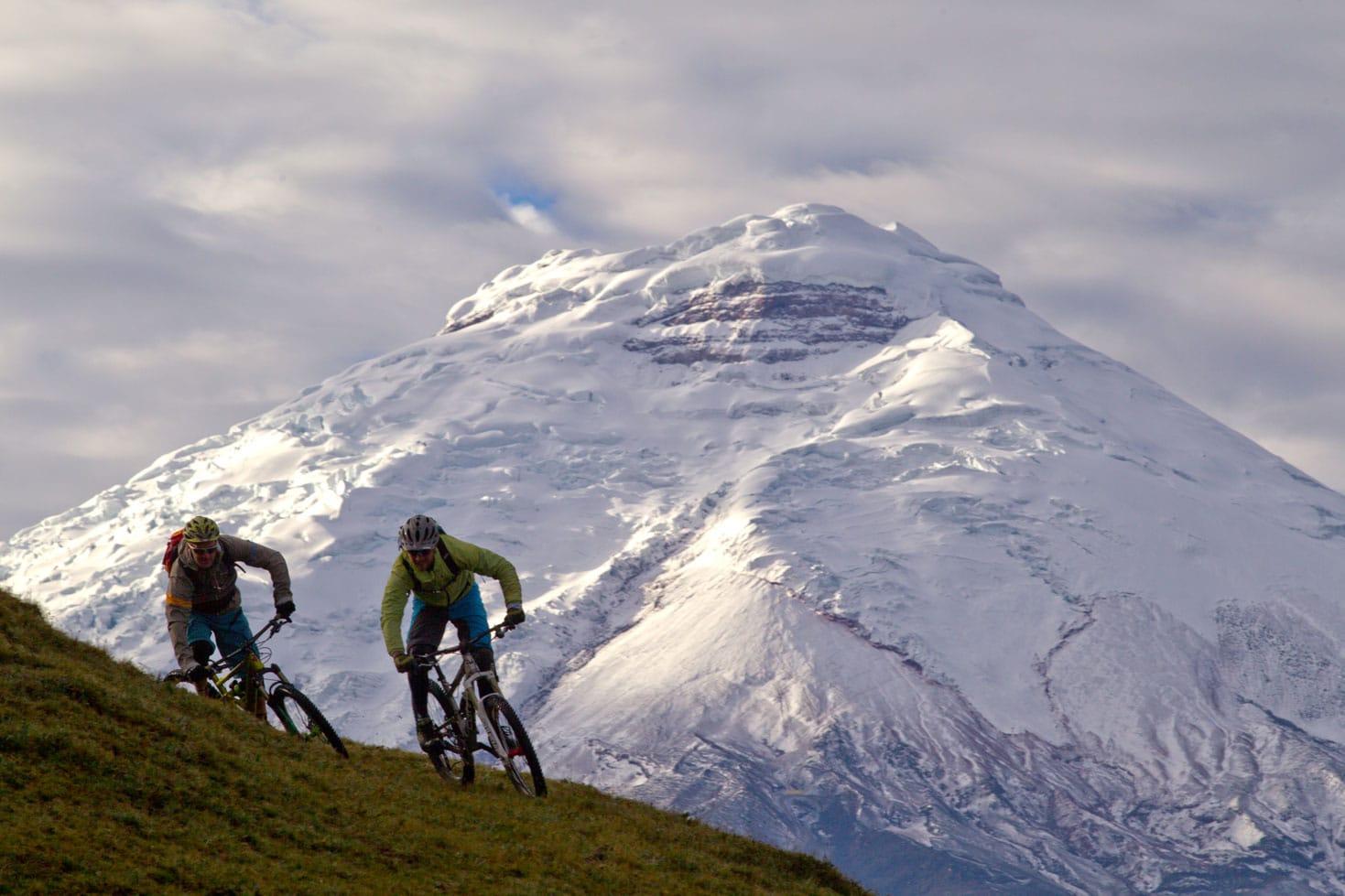Mountain biking at high altitudes in Ecuador.