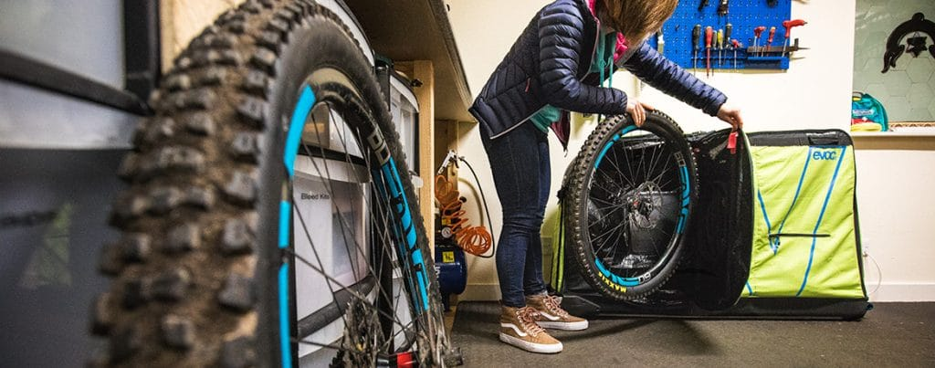 Packing wheels in our how to travel with your bike.