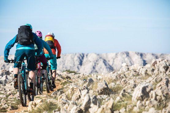 Three mountain bikers on Krk Island, mountain bike tour Croatia