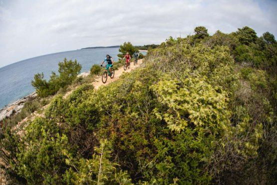 Bikers on the coast, mountain bike tour Croatia