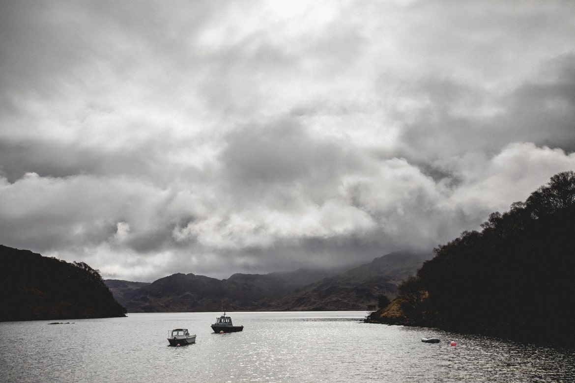 By bike and boat - grey skies over Morar