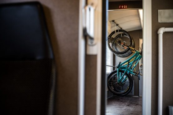 Mountain bikes racked up on the train during our mountain bike tour Switzerland