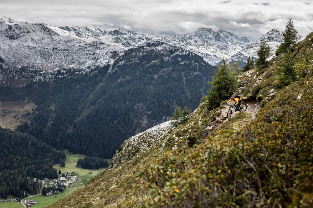 Mountain biking tight Swiss switchbacks, training Switzerland mountain bike tour