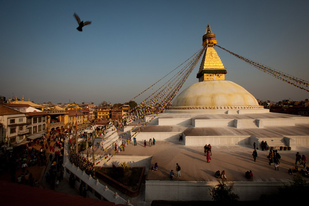 Essence of mountain biking in Nepal - Boudhanath stupa