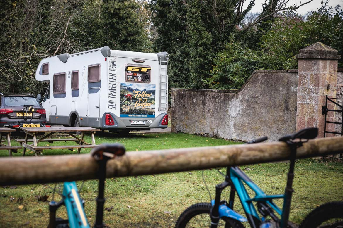 The RV parked up before riding with Hans Rey on the Mast trails in Inverness.