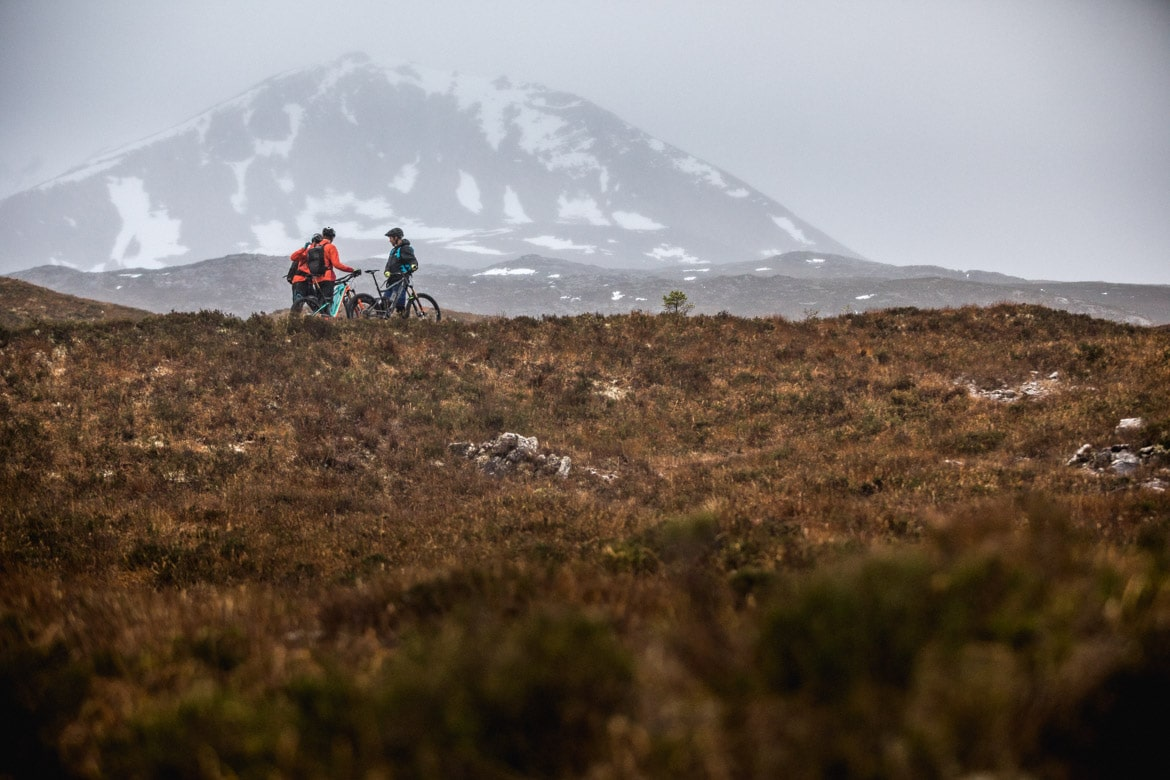 Resting on the ascent of Beinn Eighe on a ride with Scott Laughland and Greg Williamson.