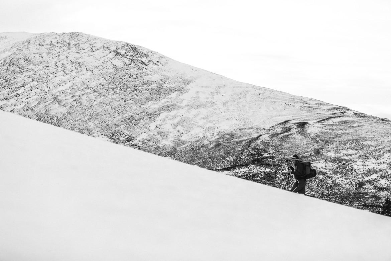 Jono Baldwin hiking in the snow