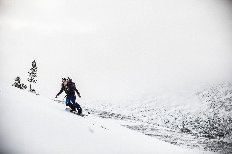 Jono Baldwin snow boarding in the Cairngorms