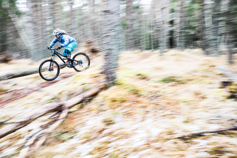 Jono Baldwin mountain biking in the Cairngorms