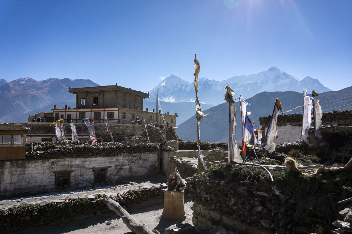 Mustang Valley, Nepal - rooftop tea stop views