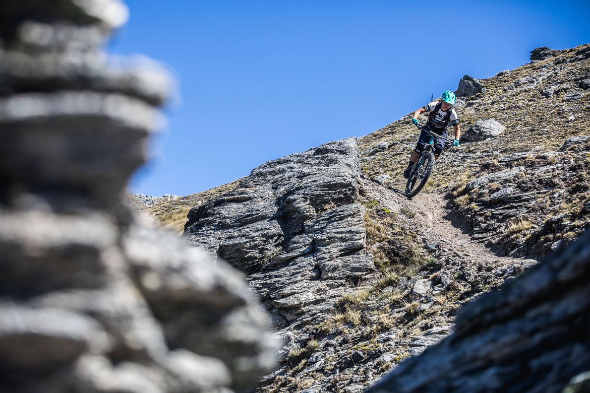 Mountain biker riding at Cardrona bike park near Queenstown.