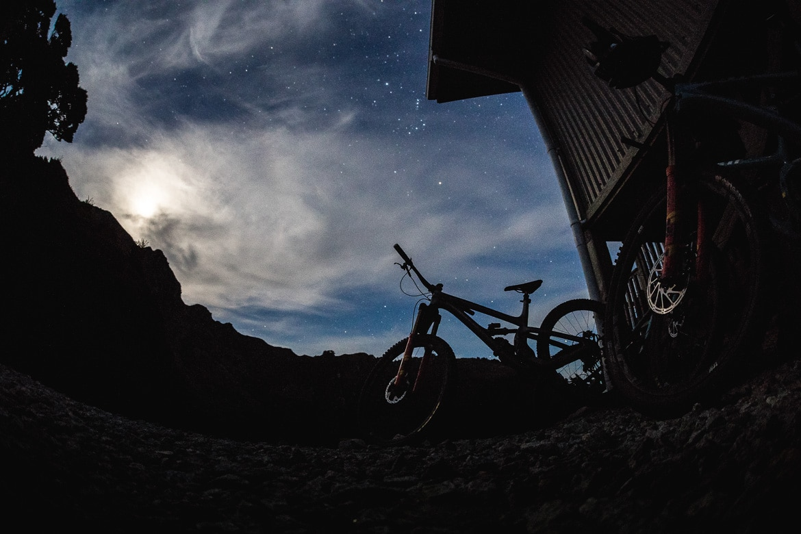 Starry skies over the Ghost Lake Hut after riding the Old Ghost Road during the International Yeti Tribe New Zealand mountain bike tour.