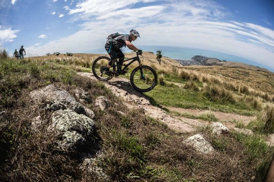 Mountain biker in the Port Hills above Christchurch, part of our mountain bike tour New Zealand.