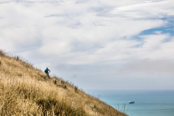 Yeti EWS race Jubal Davis riding the Porthills of Christchurch, part of our mountain bike tour New Zealand.