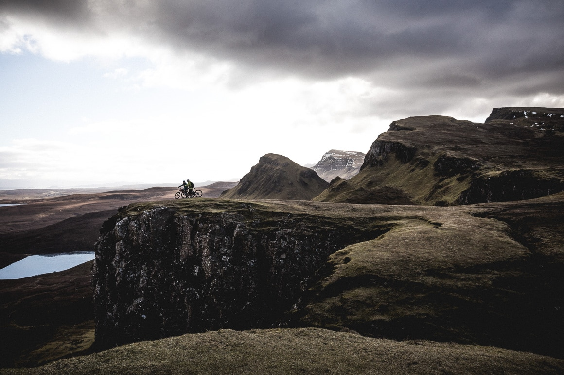 Mountain bikers near the the Quiraing, Isle of Skye.