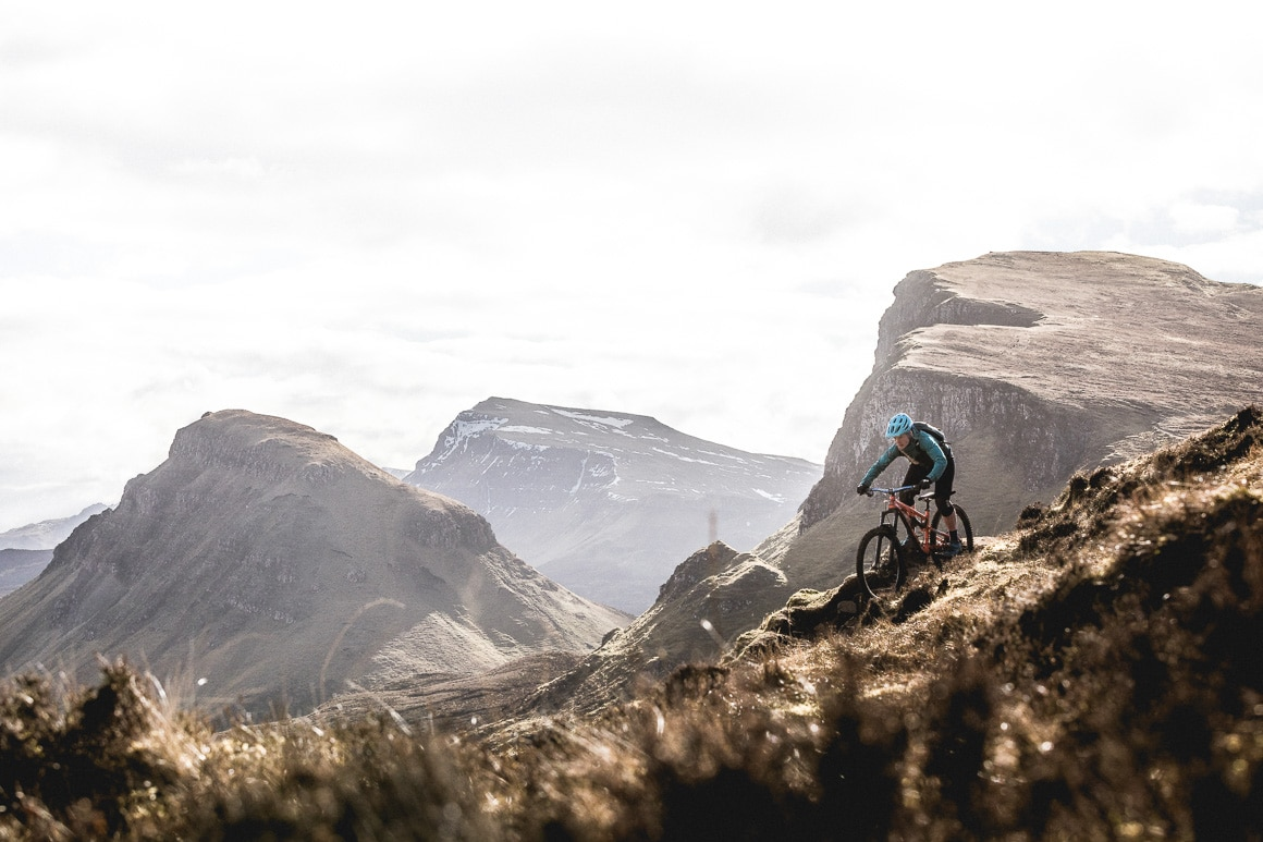 Mountain biker riding the Quiraing on the Isle of Skye.