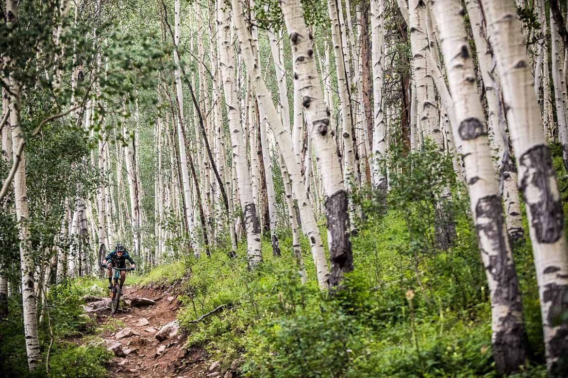 Taking in the thrills of 'Doctor Park' trail in Crested Butte during our mountain bike tour Colorado.