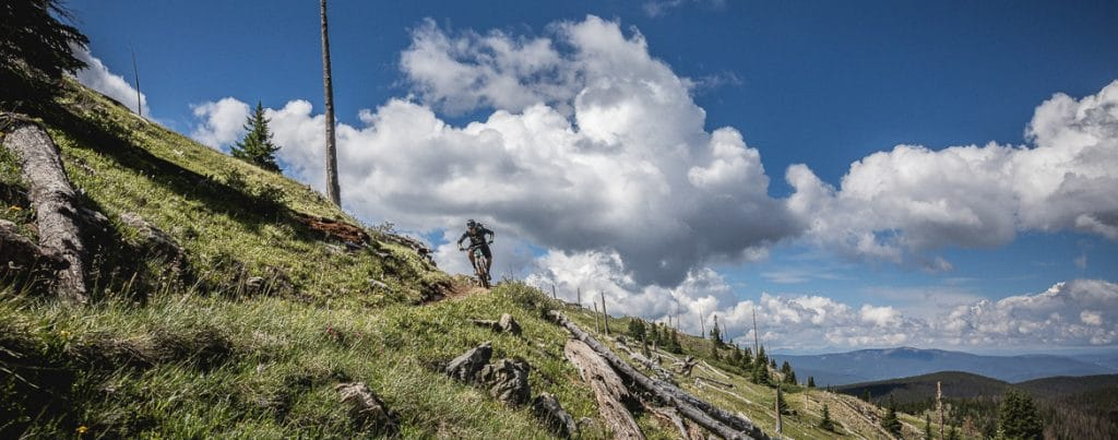 Riding monarch crest trail during mountain biking Colorado.