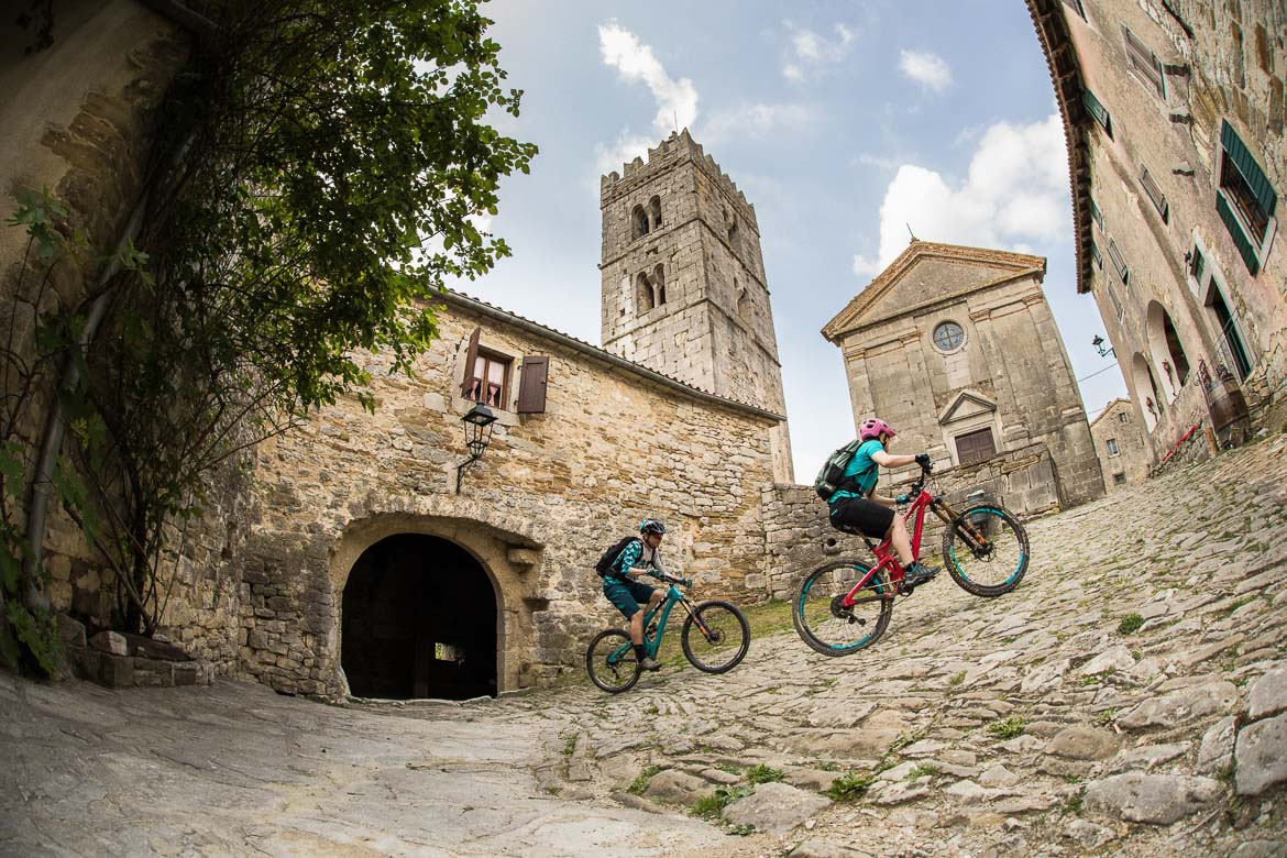 Mountain bikers in Hum, Croatian mtb scene. One of our mountain biking adventures in Europe. One of our highlights of 2018.