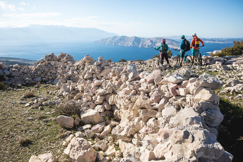 Bikers on a hill Krk Island, Croatian mtb scene