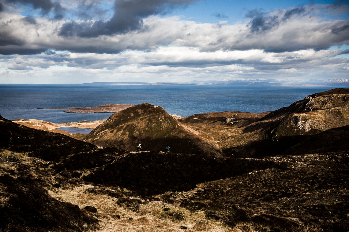 Mountain bikers riding the Quiraing on the Isle of Skye.