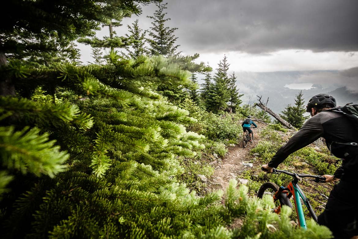 Riders take on the high descents on our British Columbia MTB tour