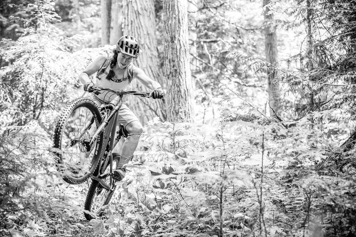 Pulling shapes on trail on our MTB BC vacation