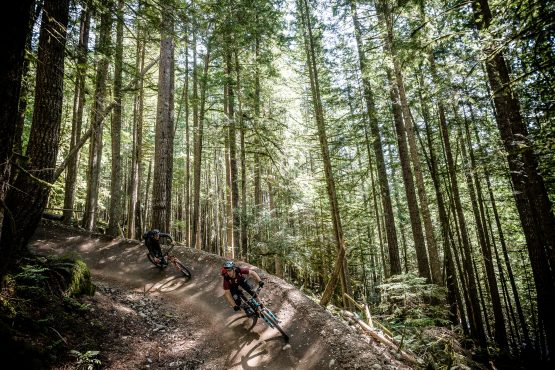 Scotty Laughland and Shaun letting it rip in BC, Canada on our MTB tour.