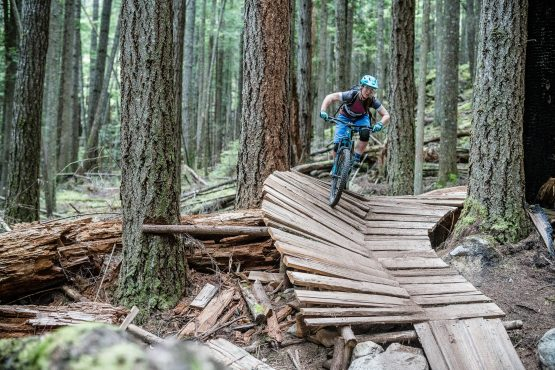 Picking our way through the Northshore boardwalk on our MTB holiday in BC