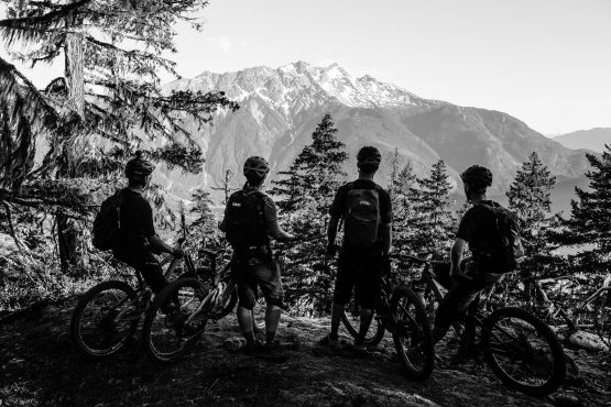 MTB riders taking the the epic views of BC, Canada - H+I Adventures mountain bike tour