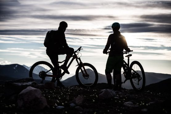 Taking in the end of a long and perfect day of mountain biking in the Yukon, Canada