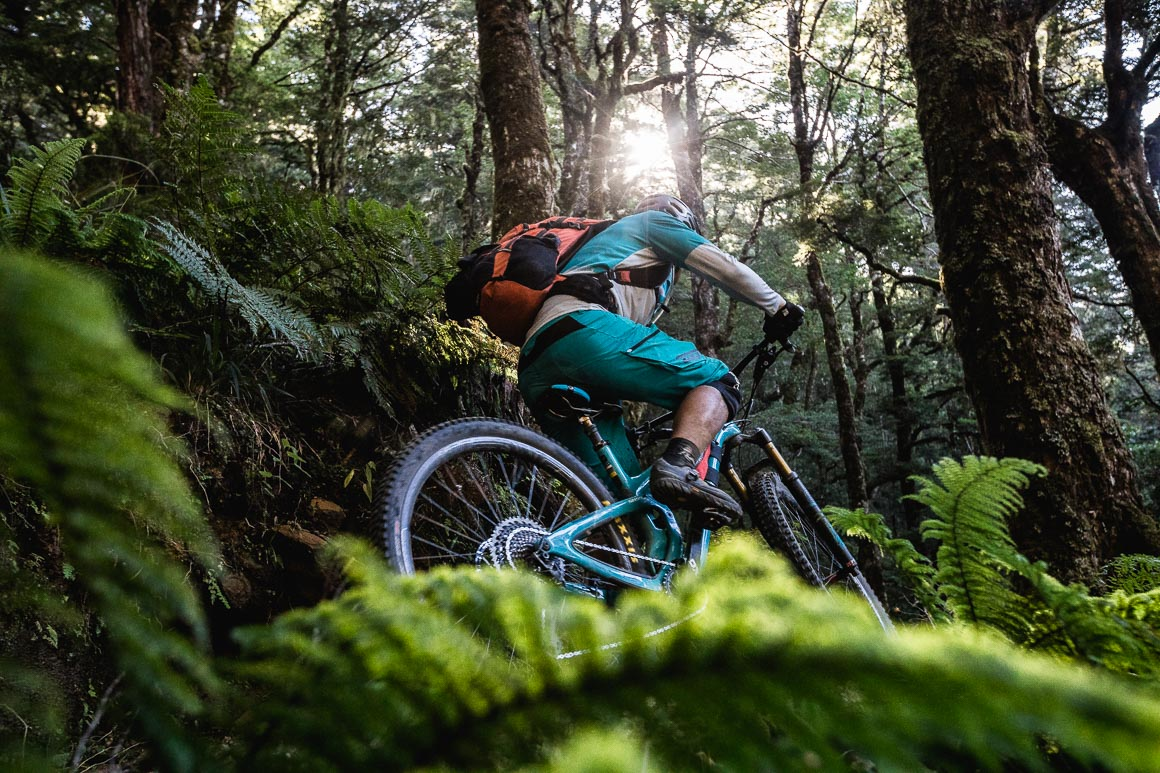 Mountain biker riding the Old Ghost Road during a mountain bike tour New Zealand.