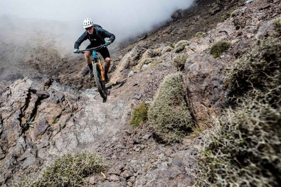 Mountain bike tour Morocco with steep technical singletrack descent