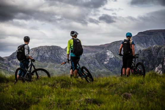 challenging mountain terrain on our coast-to-coast Scotland guided MTB tour