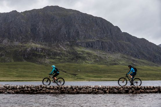 Cuaseway crossing on the coast-to-coast Scotland mountain bike tour with H+I Adventures