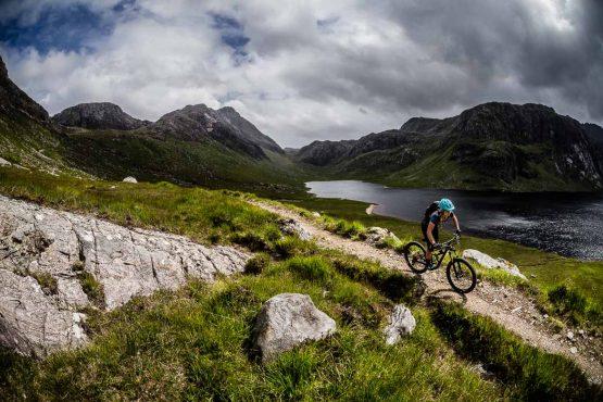 Flowy singletrack on the coast-to-coast Scotland mountain bike vacation, UK